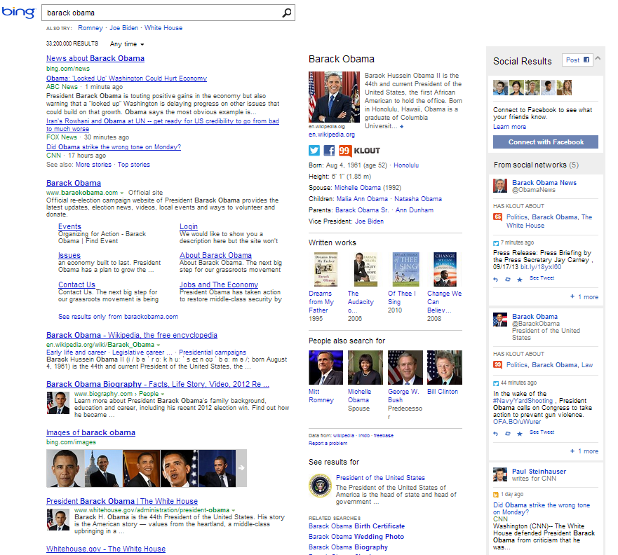 Bing's Updated Search Results